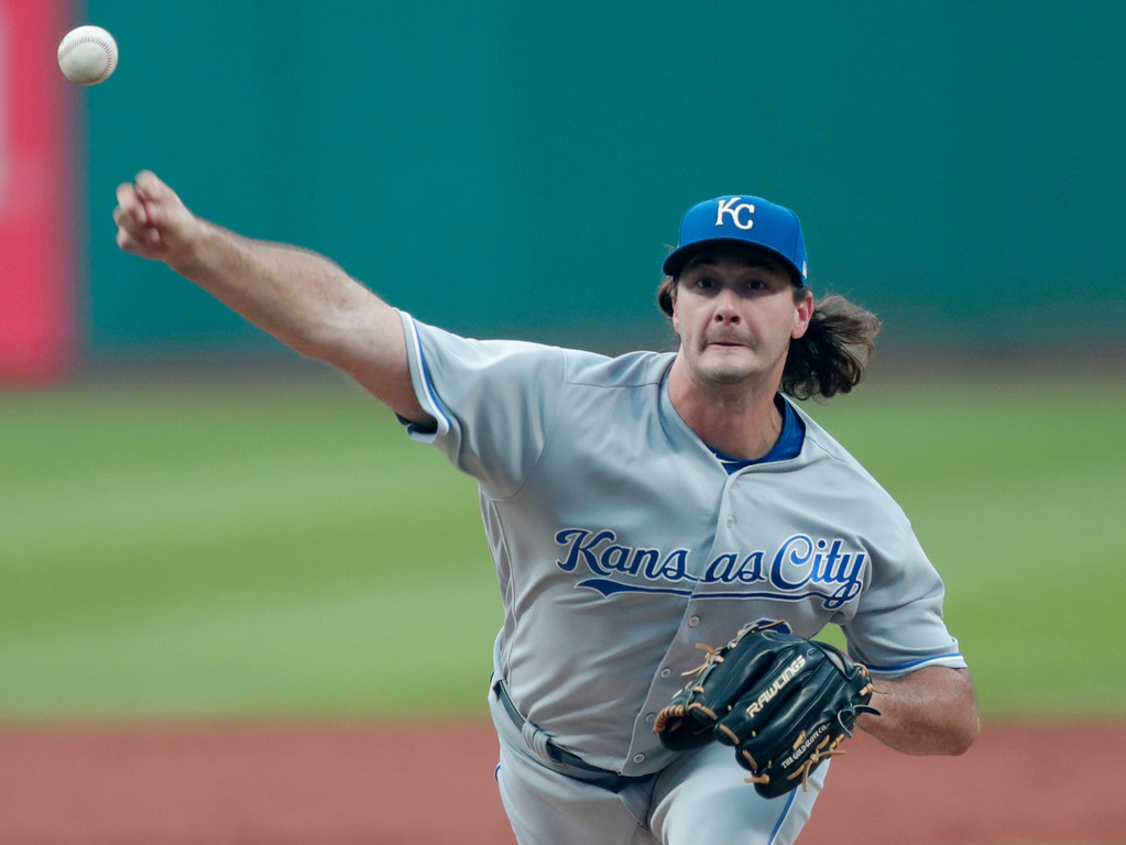 . Kansas City Royals relief pitcher Burch Smith delivers to a Cleveland Indians batter during the first inning of a baseball game Tuesday, Sept. 4, 2018, in Cleveland. (AP Photo/Tony Dejak)
