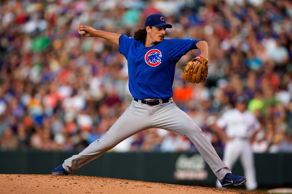 . DENVER, CO - JULY 19:  Starter Jeff Samardzija #29 of the Chicago Cubs pitches in the third inning against the Colorado Rockies at Coors Field on July 19, 2013 in Denver, Colorado.  (Photo by Justin Edmonds/Getty Images)