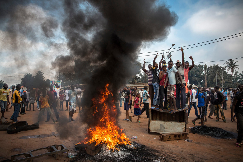 . This picture by French photographer William Daniels, Panos Pictures for Time won 2nd Prize in General News Stories category of the 57th World Press Photo Contest, it was announced by the organizers in Amsterdam, The Netherlands, 14 February 2014. It shows demonstrators gather on a street in Bangui to call for the resignation of interim President Michel Djotodia following the murder of Judge Modeste Martineau Bria by members of Seleka. Bangui, Central African Republic.  EPA/WILLIAM DANIELS / PANOS PICTURES / TIME