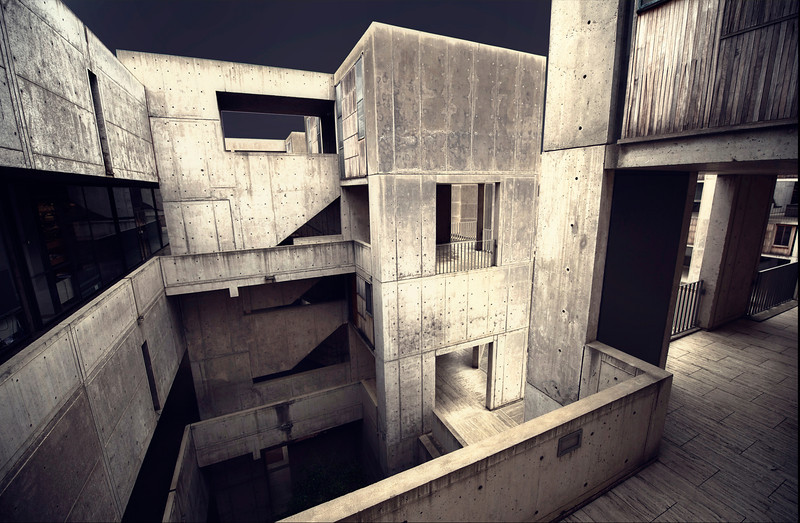 This is a picture of Salk Institute in La Jolla - my hometown.  It is pretty remarkable architecture and rest right on the bluffs overlooking the beautiful Pacific Ocean.
