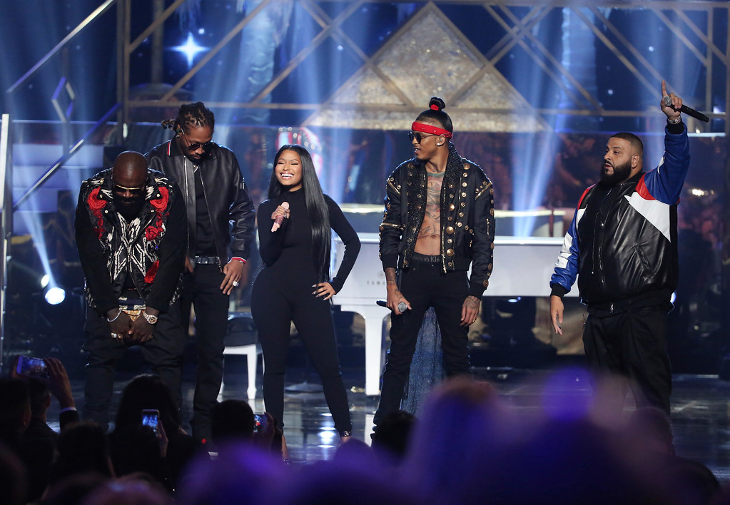 ". Rick Ross, from left, Future, Nicki Minaj, August Alsina, and DJ Khaled perform ""Do You Mind\"" at the American Music Awards at the Microsoft Theater on Sunday, Nov. 20, 2016, in Los Angeles. (Photo by Matt Sayles/Invision/AP)"