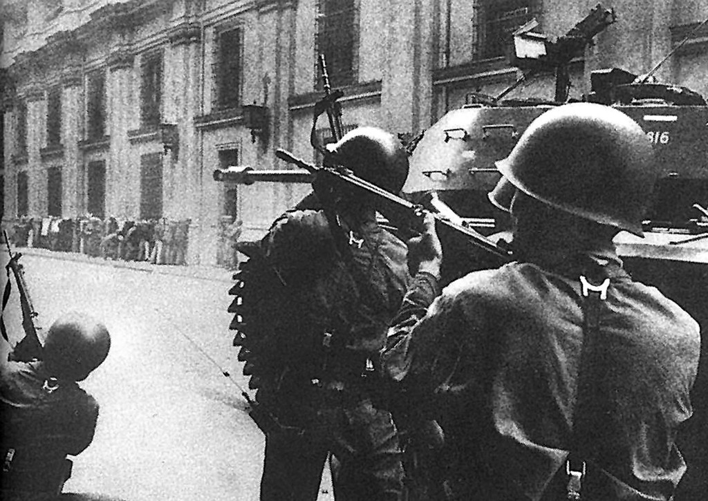 . Picture taken 11 September 1973 of the attack against the Palacio de la Moneda in Santiago during the military coup led by General Augusto Pinochet against constitutional president Salvador Allende. AFP PHOTO/ARCHIVO PRENSA LATINA HO/AFP/Getty Images