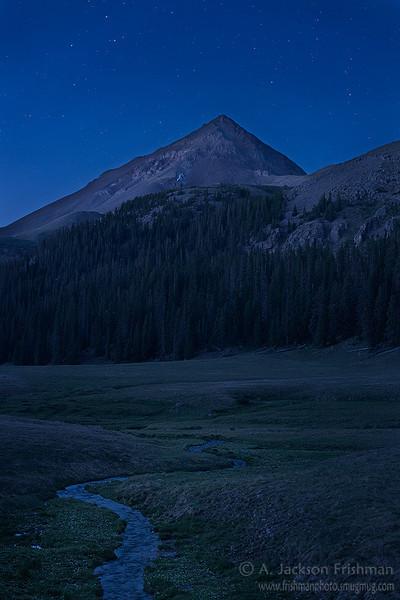 East Fork of Ute Creek and Rio Grande Pyramid under stars, Weminuche Wilderness, Colorado, June 2012.