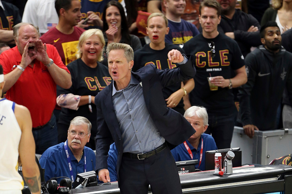 . Golden State Warriors coach Steve Kerr argues a call during the first half of Game 3 of basketball\'s NBA Finals against the Cleveland Cavaliers on Wednesday, June 6, 2018, in Cleveland. (Joshua Gunter/Cleveland.com via AP)