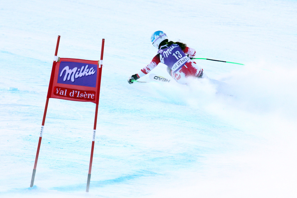 . Elisabeth Goergl of Austria takes 2st place during the Audi FIS Alpine Ski World Cup Women\'s Downhill on December 20, 2014 in Val dâIsere, France. (Photo by Christophe Pallot/Agence Zoom/Getty Images)