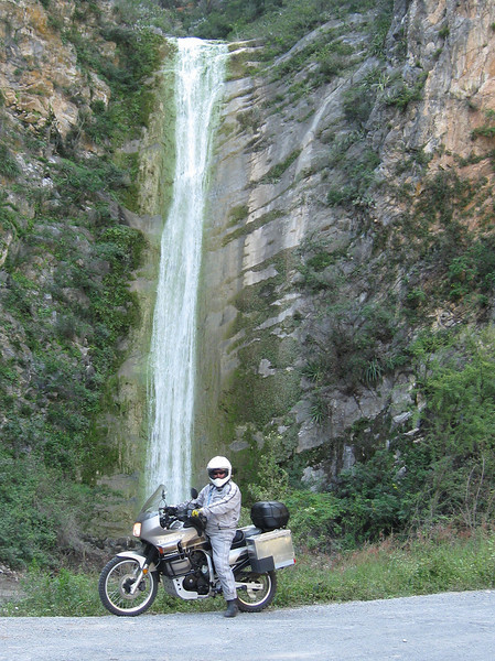 Rick M and his transalp at a waterfall on the road to Rayones.