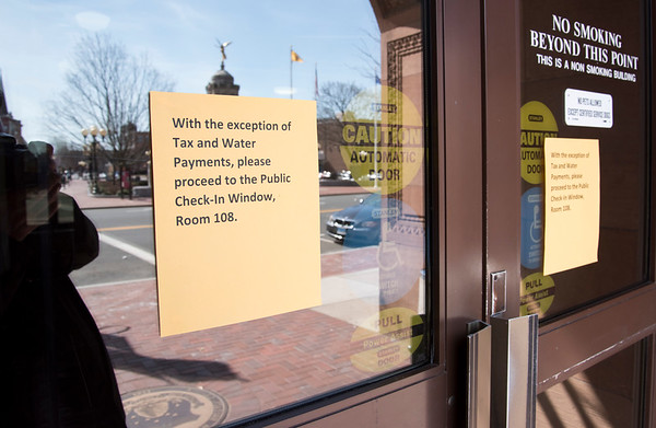 03/16/20 Wesley Bunnell | StaffrrA sign outside of New Britain City Hall on Monday March 16, 2020 with special instructions to visitors due to the Coronavirus.