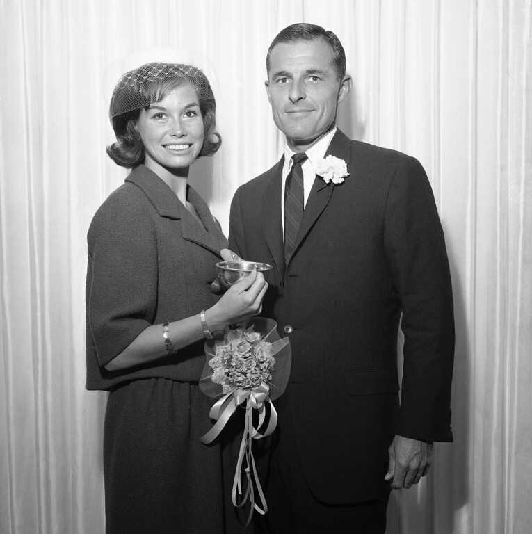 . Actress Mary Tyler Moore, 25,  and NBC Vice President Grant Tinker were married on June 1, 1962 in Las Vegas, Nevada. It was the second marriage for both attractive actress and her 36-year-old husband. Immediately following the wedding in the Dunes Hotel the couple left on a secret honeymoon. (AP Photo)