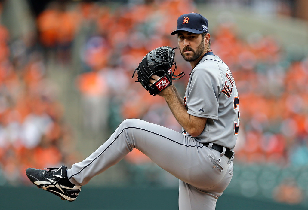 . Detroit Tigers starting pitcher Justin Verlander throws to the Baltimore Orioles in the first inning of Game 2 in baseball\'s AL Division Series in Baltimore, Friday, Oct. 3, 2014. (AP Photo/Patrick Semansky)
