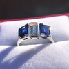 2.83ctw Vintage Emerald Diamond and Sapphire Trilogy Ring 23