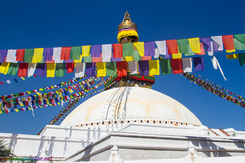 Stupa and Prayer Flags at Boudhanath, Kathmandu, Nepal