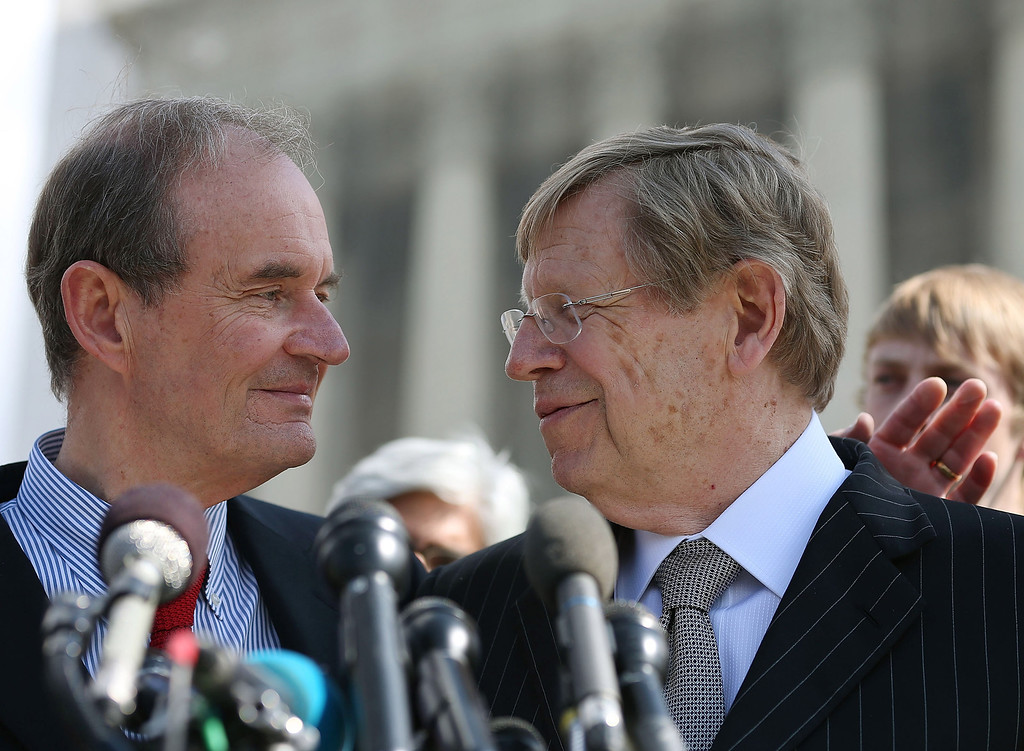 . 6: Plaintiff attorneys David Boies (L) and Ted Olson talk to the media after oral arguments at the U.S. Supreme Court, on March 26, 2013 in Washington, DC. (Photo by Mark Wilson/Getty Images)
