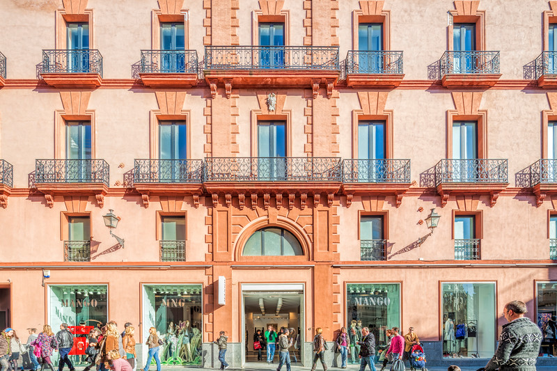 Palacio Central building, formerly cinema theatre and nowadays a fashion store. Seville, Spain.