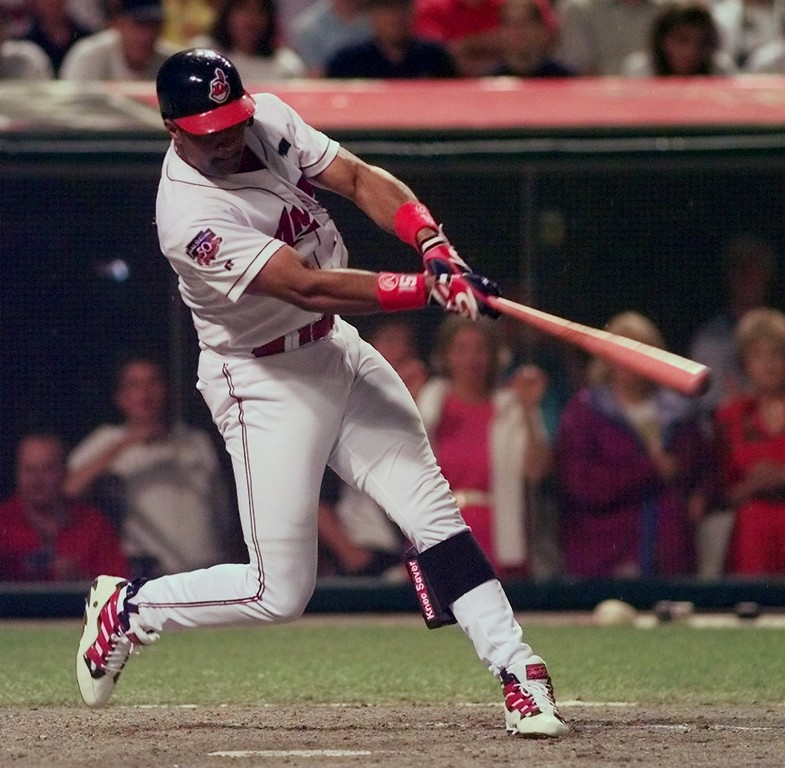. Cleveland Indians\' Sandy Alomar belts a two-run homer in the seventh inning of the 68th All-Star Game Tuesday  July 8, 1997 in Cleveland. (AP Photo/Mark Duncan)