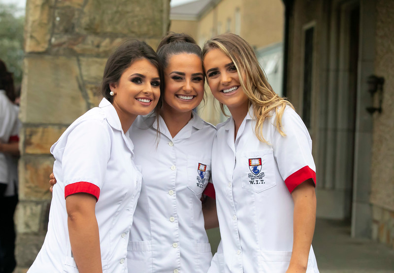 26/09/2019. Nurses Graduation at University Hospital Waterford. Pictured are Lauren McGrath Cork, Eimear Fitzpatrick Kilkenny and Meg Fitzgerald Cork. Picture: Patrick Browne