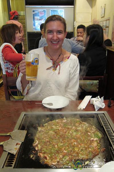 Audrey Waits for Monjayaki to Cook - Tokyo, Japan