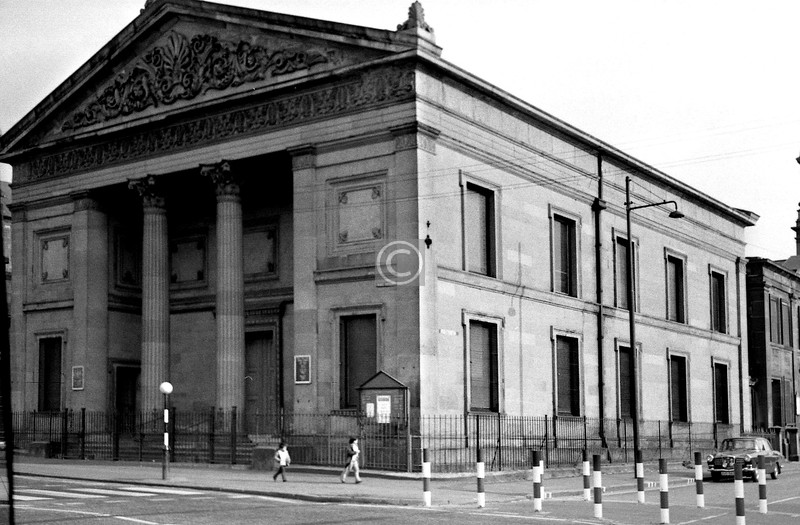 Corner of Duke St. and Sydney St.  Trinity-Duke St Church. Now under the protection of the Glasgow Building Preservation Trust.    June 1975