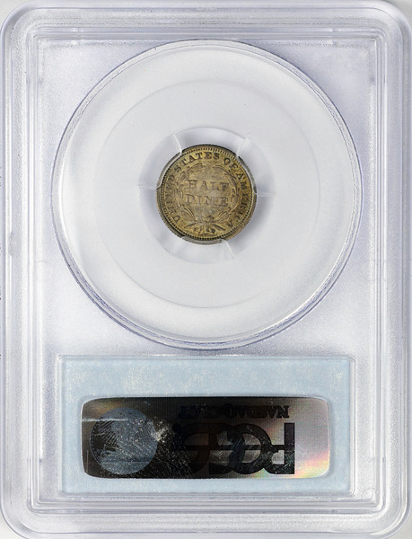 1853 HALF DIME - SEATED LIBERTY, STARS OBVERSE ARROWS PCGS AU53 CAC Reverse