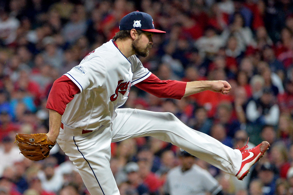 . Cleveland Indians relief pitcher Andrew Miller delivers in the eighth inning of Game 1 of baseball\'s American League Division Series against the New York Yankees, Thursday, Oct. 5, 2017, in Cleveland. (AP Photo/Phil Long)