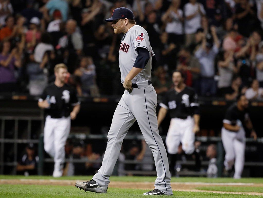 . Cleveland Indians relief pitcher Neil Ramirez walks off the field after Chicago White Sox\'s Daniel Palka hit the a solo home run to end a baseball game Friday, Aug. 10, 2018, in Chicago. The White Sox won 1-0. (AP Photo/Nam Y. Huh)