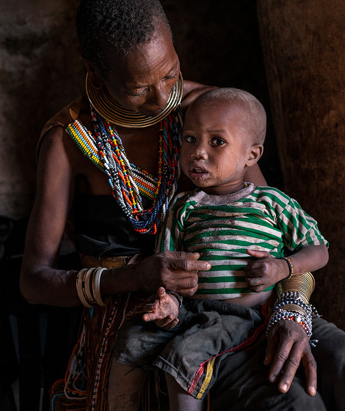 A mother and son from the Datoga tribe.  lake Eyasi, Tanzania, 2019.