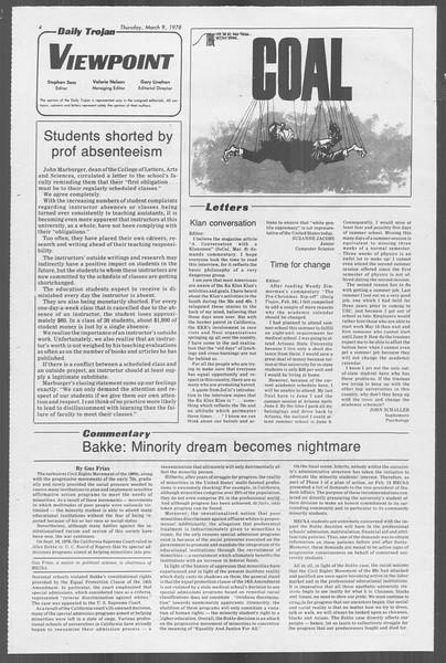 Daily Trojan, Vol. 73, No. 21, March 09, 1978