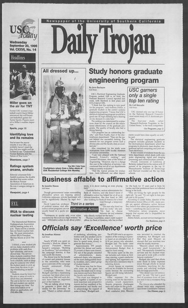Daily Trojan, Vol. 126, No. 14, September 20, 1995