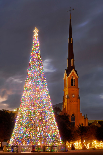 A towering Christmas light tree stands in the center of Marion Square with the steeple of St. Matthews Church in the distance in Downtown Charleston, South Carolina on Friday, December 10, 2010. Photo Copyright 2010 Jason Barnette