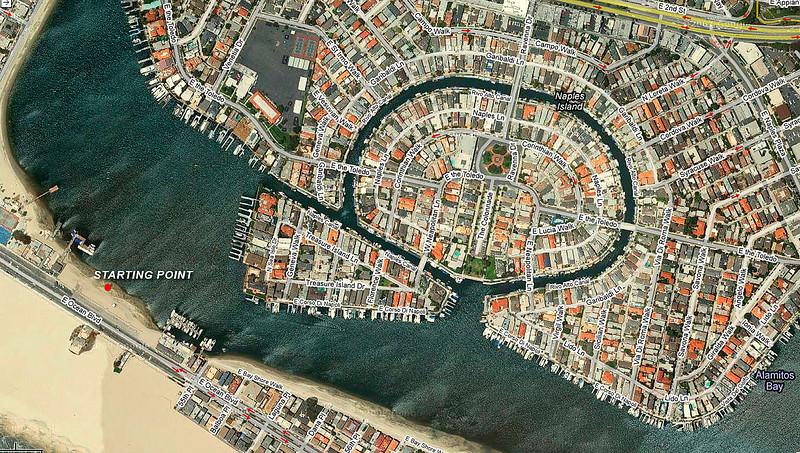 Satellite image of Naples Island, Alamitos Bay area.