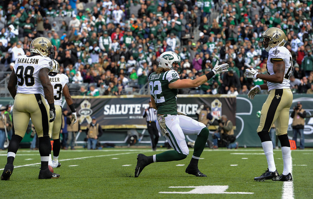 . Tight end Zach Sudfeld #82 of the New York Jets celebrates after a first down catch in the 2nd quarter against  the New Orleans Saints at MetLife Stadium on November 3, 2013 in East Rutherford, New Jersey. (Photo by Ron Antonelli/Getty Images)
