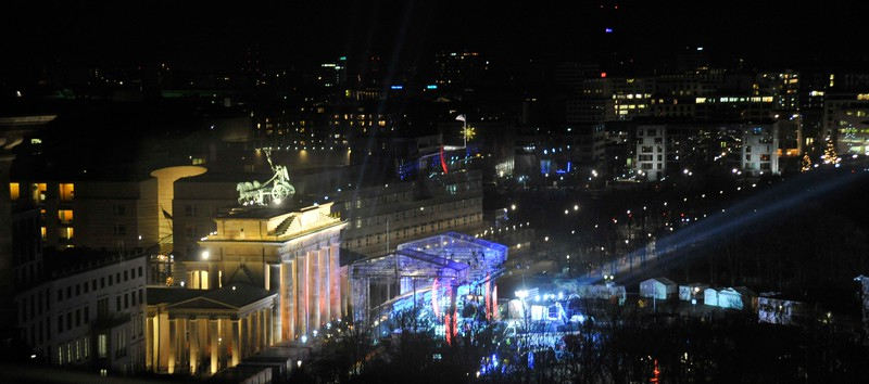 Looking from the roof of the Reichstag towards the Brandenburg Gate and stage being prepared for New year's Eve celebration concert.