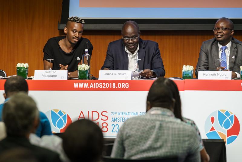 22nd International AIDS Conference (AIDS 2018) Amsterdam, Netherlands.   Copyright: Matthijs Immink/IAS Regional Members' Meeting for Africa Photo shows: Keletso Makofane  James Hakim Kenneth Ngure