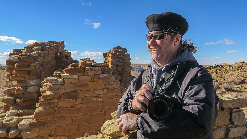 Me at Chaco Canyon National Park, New Mexico during our 3 month, 10,000 mile RV adventure through the United States.