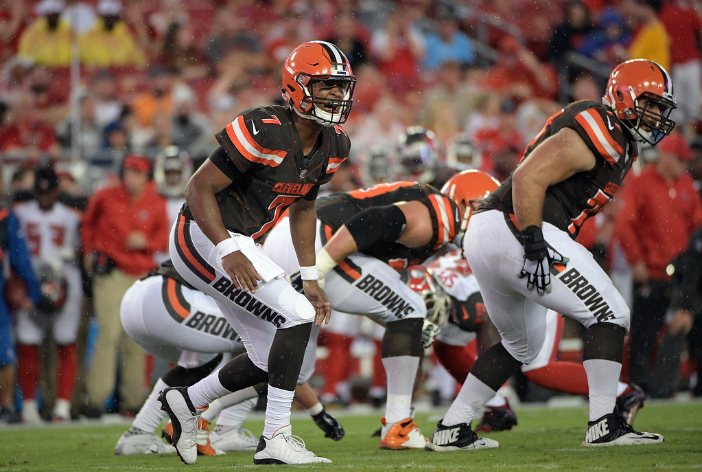 . Cleveland Browns quarterback DeShone Kizer (7) calls a play against the Tampa Bay Buccaneers during the first quarter of an NFL preseason football game Saturday, Aug. 26, 2017, in Tampa, Fla. (AP Photo/Phelan Ebenhack)