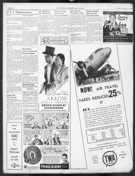 Daily Trojan, Vol. 29, No. 50, December 01, 1937
