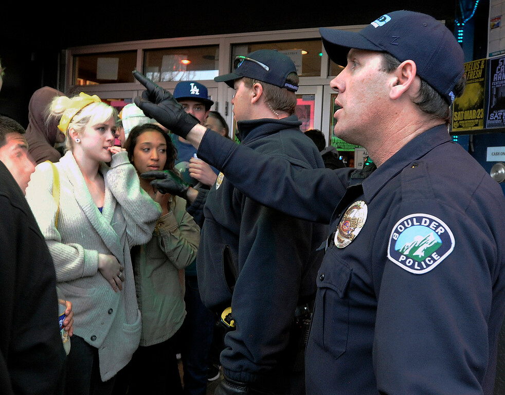 . Boulder Police officers try to keeps the situation under control during a disturbance at the Fox Theater on Monday, March 11, in Boulder. Boulder Police responded with riot gear to keep the fans of the band Tyler the Creator under control.  Jeremy Papasso/Boulder Daily Camera
