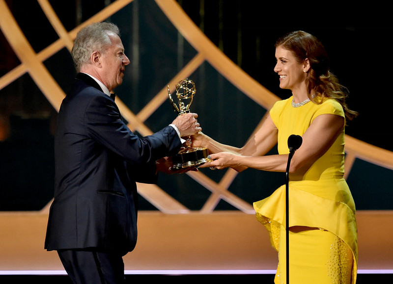 . Director Colin Bucksey (L) accepts Outstanding Directing for a Miniseries, Movie or a Dramatic Special for the \'Fargo\' episode \'Buridan\'s Ass\' from actress Kate Walsh onstage at the 66th Annual Primetime Emmy Awards held at Nokia Theatre L.A. Live on August 25, 2014 in Los Angeles, California.  (Photo by Kevin Winter/Getty Images)