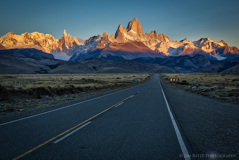 The road into El Chalten, Argentina - with Mount Fitz Roy looming in the background.