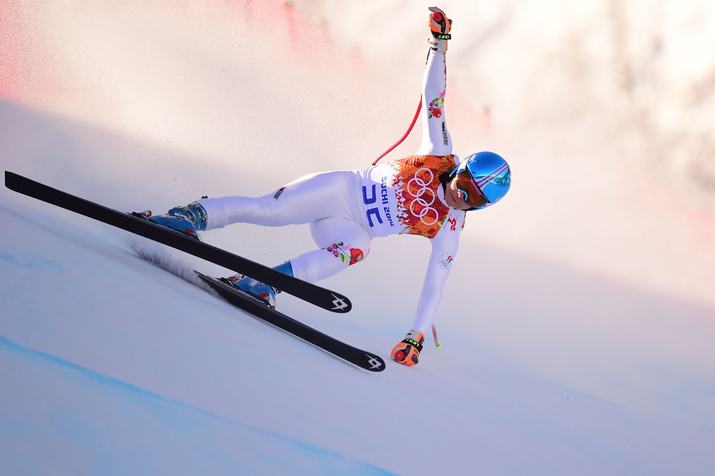 . Hungary\'s Edit Miklos competes during the Women\'s Alpine Skiing Downhill at the Rosa Khutor Alpine Center during the Sochi Winter Olympics on February 12, 2014.  AFP PHOTO / FABRICE  COFFRINI/AFP/Getty Images