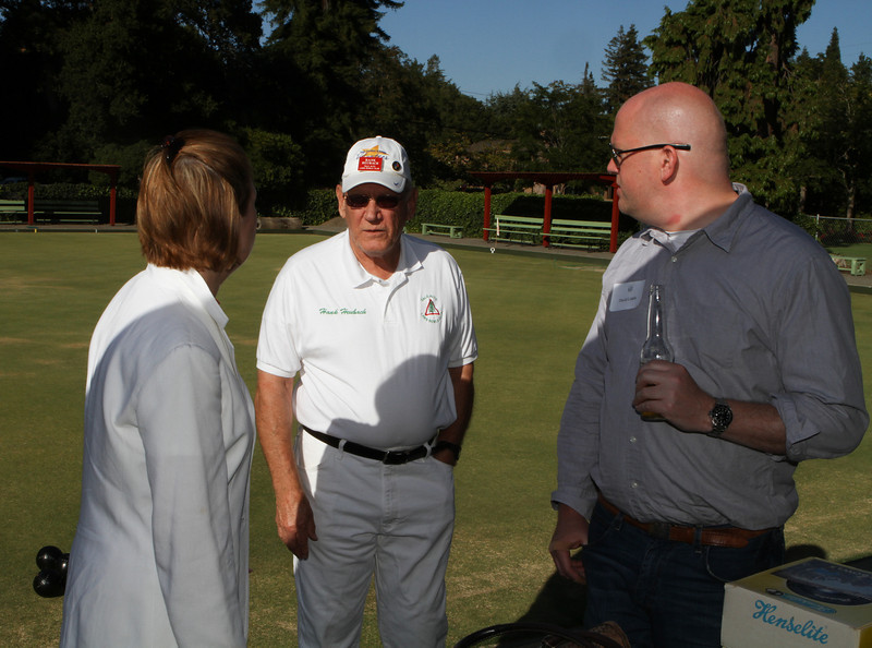 Janet Kluczynski '77 and David Liddle get some pointers in advance from PALBC pro Hank Heubach '61.
