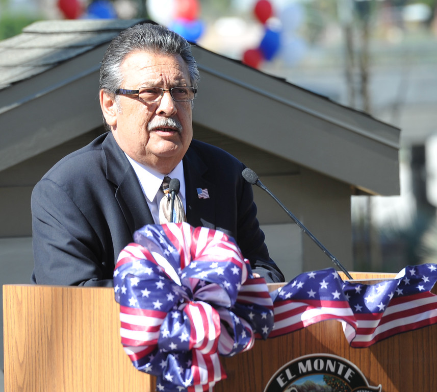 ". El Monte Councilmember Juventino ""J\"" Gomez speaks during the Grand Opening of the El Monte Veterans Village on Ramona Blvd. in El Monte on Wednesday March 12, 2014. The Veterans Village is a state-of-the-art veterans housing community includes 40 studio apartments. (Staff Photo by Keith Durflinger/San Gabriel Valley Tribune)"