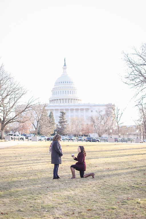 Washington DC proposal photos with top lesbian wedding photographer Jalapeno Photography.