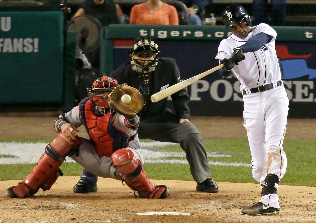 . Detroit Tigers\' Austin Jackson hits an infield single in the fourth inning during Game 4 of the American League baseball championship series against the Boston Red Sox, Wednesday, Oct. 16, 2013, in Detroit. (AP Photo/Charlie Riedel)