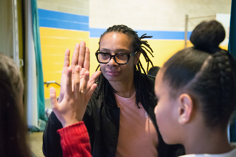 03/26/19  Wesley Bunnell   Staff  OIC New Britain held their Galleria Day on Tuesday afternoon featuring performances and artwork by OIC students. Adrian Elliot high fives a performer backstage.