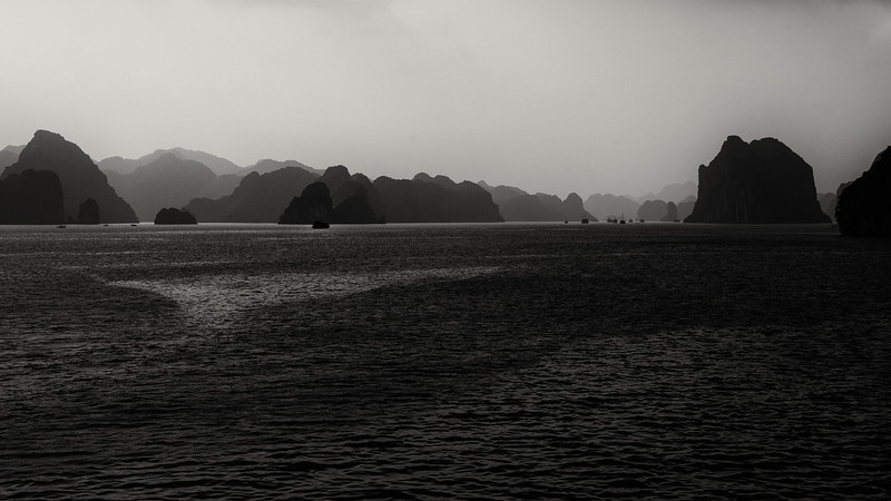 Clouds and fog on Halong Bay.