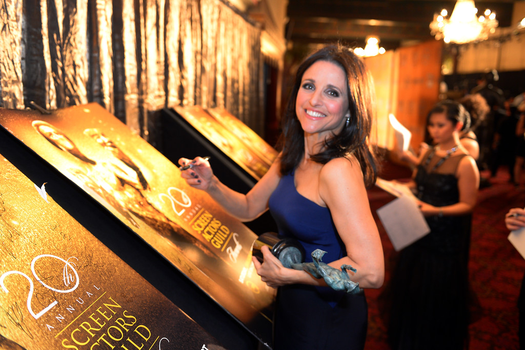 . Julia Louis-Dreyfu sbackstage at the 20th Annual Screen Actors Guild Awards  at the Shrine Auditorium in Los Angeles, California on Saturday January 18, 2014 (Photo by Michael Owen Baker / Los Angeles Daily News)