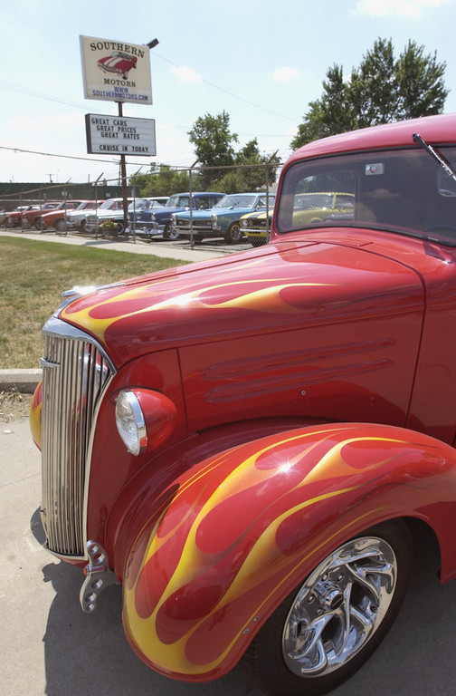 . Southern Motors which specializes in older autos starting in the 60\'s is participating in the first-ever auction during the Woodward Dream Cruise. This \'37 Chevy Pickup sits out front along Baldwin Ave.