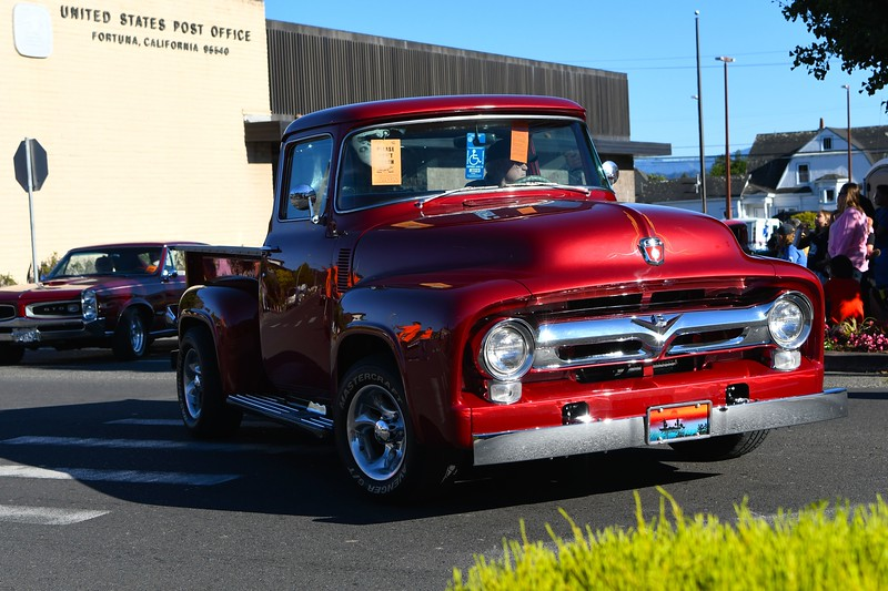 Red Chevy truck makes the turn onto Main Street, Fortuna. José Quezada — For the Times-Standard