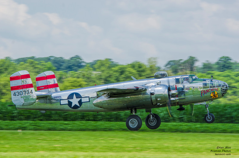 """""""Panchito"""" the B-25 of the DAV landing on 05 at the 2015 National Warplane Museum Geneseo Airshow."""