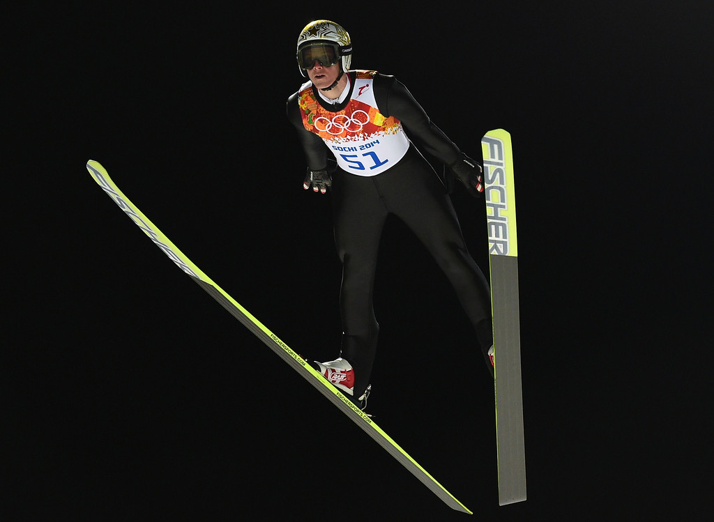 . Austria\'s Thomas Morgenstern competes during the trial jump of the Men\'s Ski Jumping Large Hill Individual qualification at the RusSki Gorki Jumping Center during the Sochi Winter Olympics on February 14, 2014 in Rosa Khutor near Sochi.  AFP PHOTO / JOHN  MACDOUGALL/AFP/Getty Images